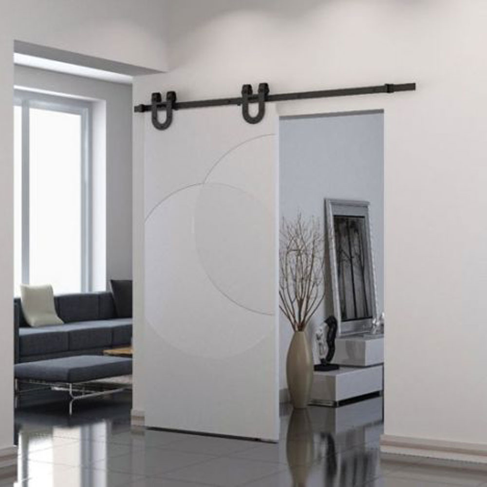 6FT Wood Sliding Interior Barn Door Hardware Track Indoor Horseshoe Style  Black