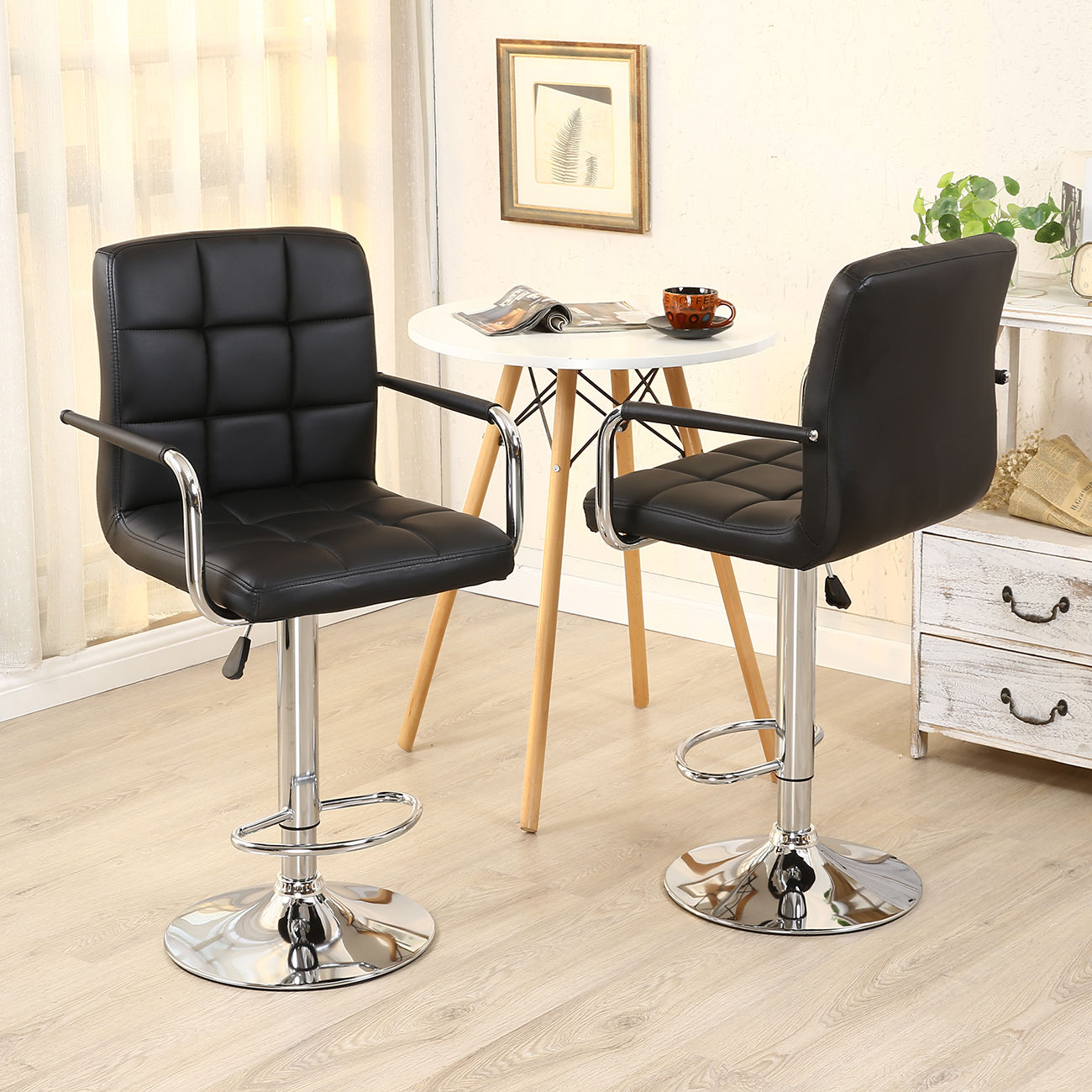 2pcs Pu Leather Adjustable Height Swivel Bar Stool Black