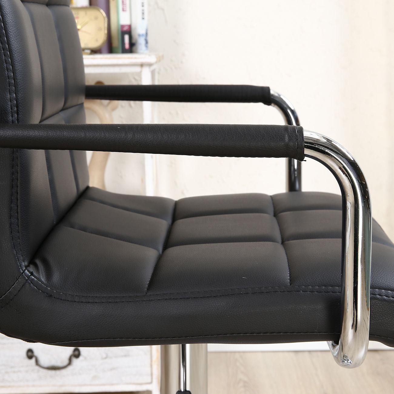 2pcs Pu Leather Adjustable Height Swivel Bar Stool Black