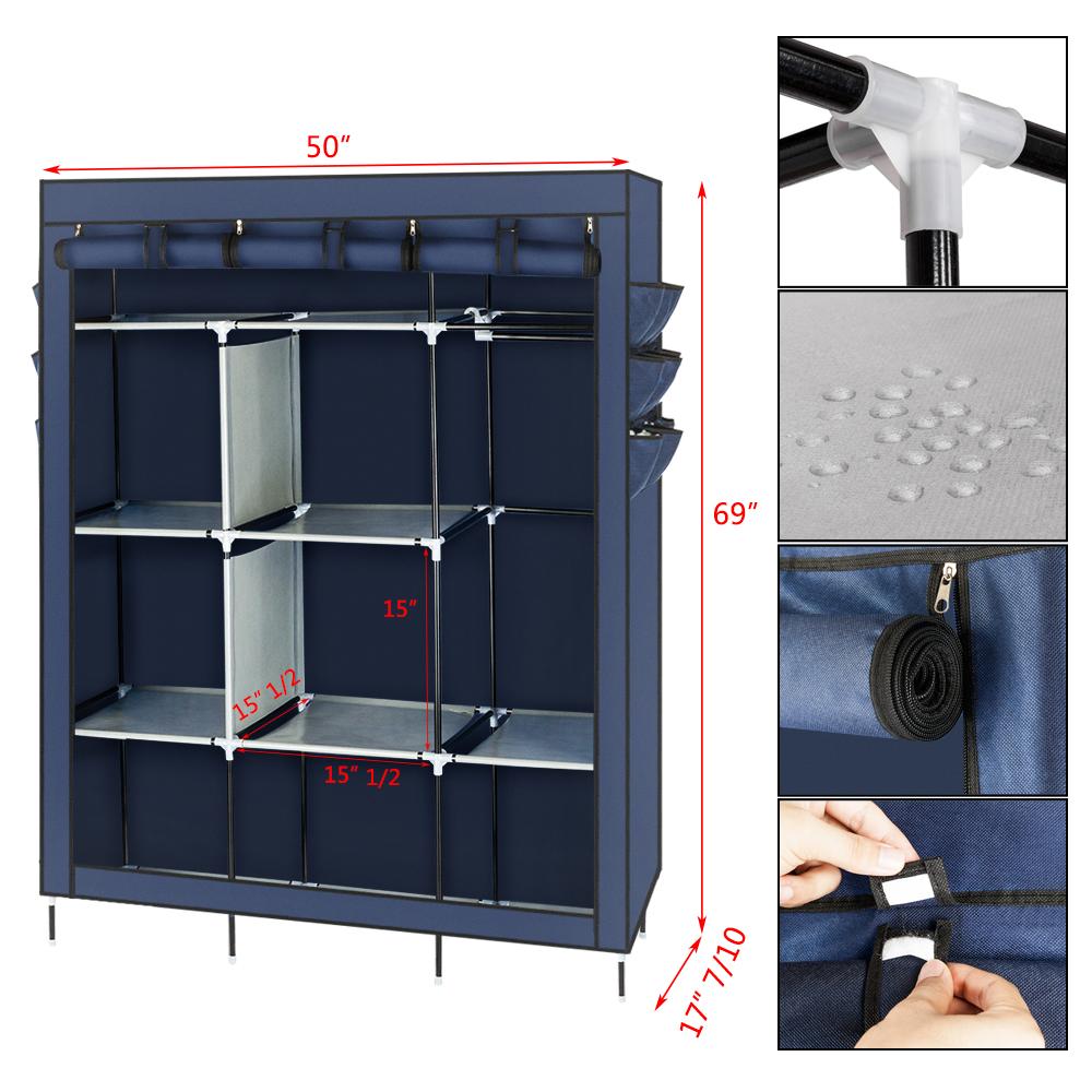 New Non Woven Fabric Folding Underwear Storage Box Bedroom: Portable Closet Wardrobe Clothes Rack Storage Holder Frame