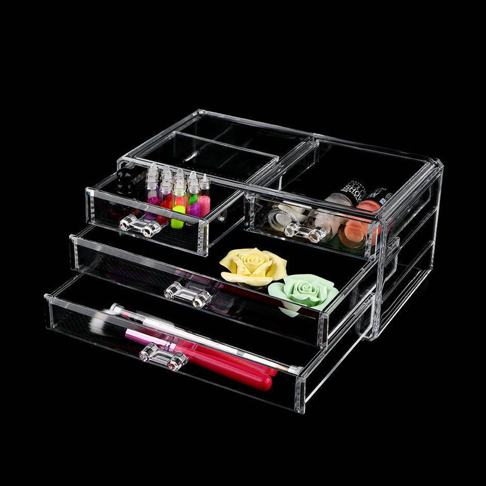 Acrylic Cosmetic Organizer 4 Drawers Drawer Makeup Case