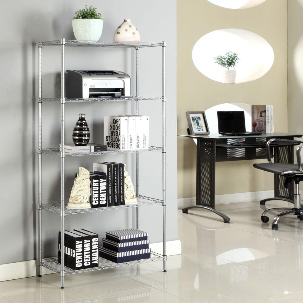 Details about 5 Tier Wire Metal Shelving Storage Rack Kitchen Shelf Unit  Home Garage Organizer