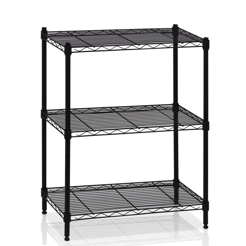 3 Layer Wire Shelving Rack Unit Storage Adjustable Metal Shelf ...