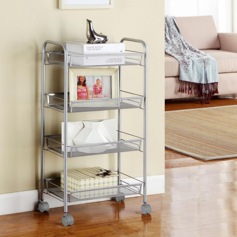Details About 4 Tier Shelf Shelves Rack Rolling Kitchen Pantry Storage Utility Cart Sliver
