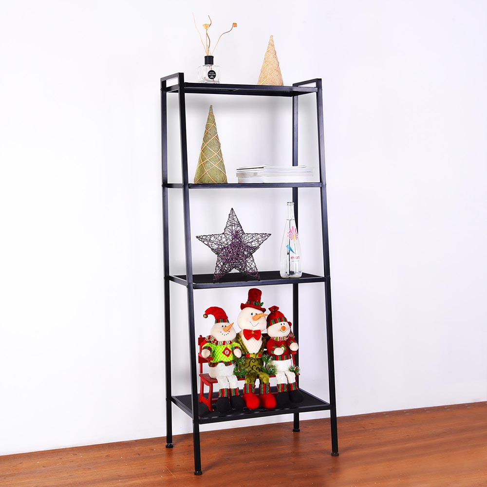 hot sales 87663 fc7a6 Details about 4-Tier Heavy Duty Bookcase Leaning Home Ladder Shelf Wall  Shell Storage Display