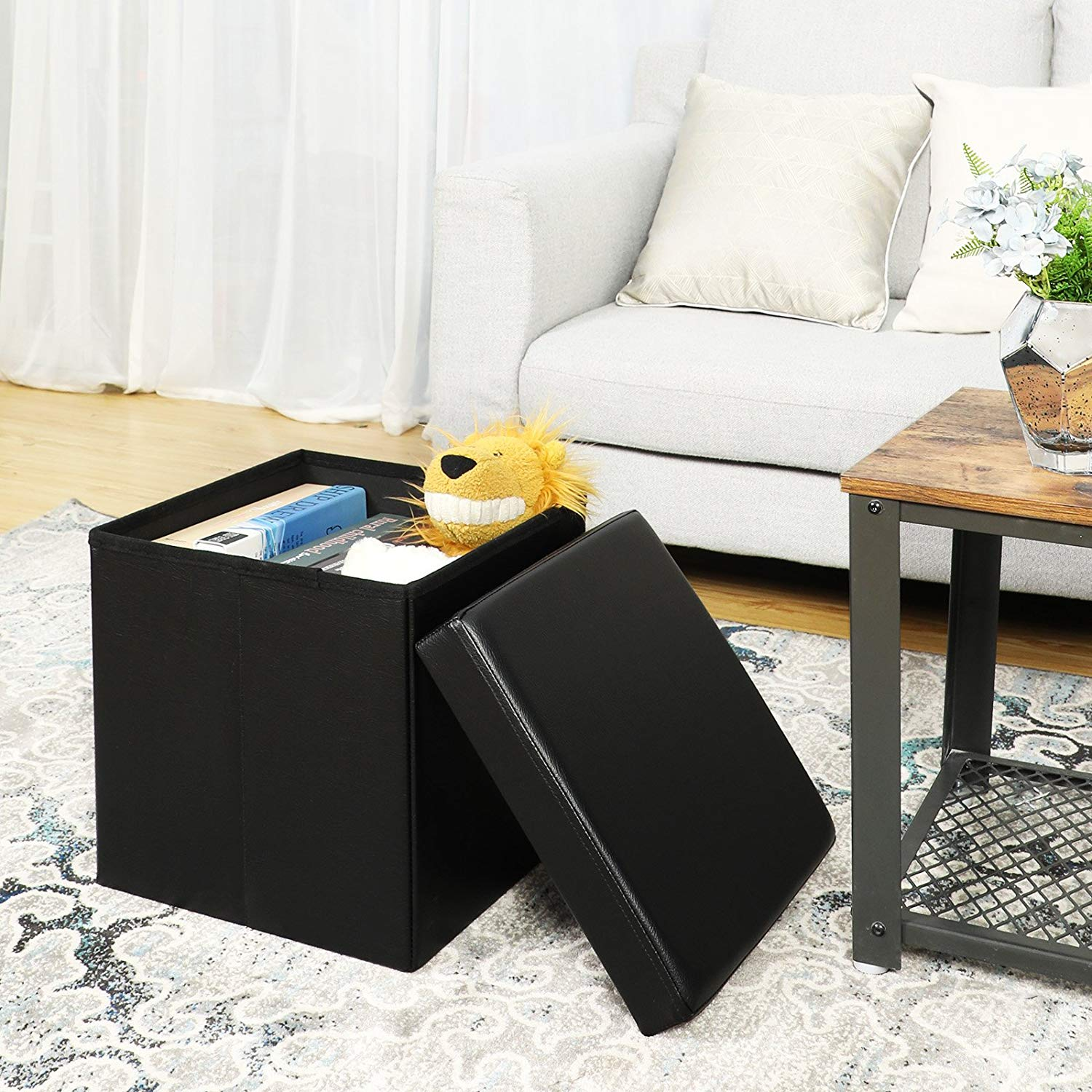 Admirable Details About Storage Ottoman Small Cube Footrest Stool Seat Faux Leather Toy Chest Black Onthecornerstone Fun Painted Chair Ideas Images Onthecornerstoneorg