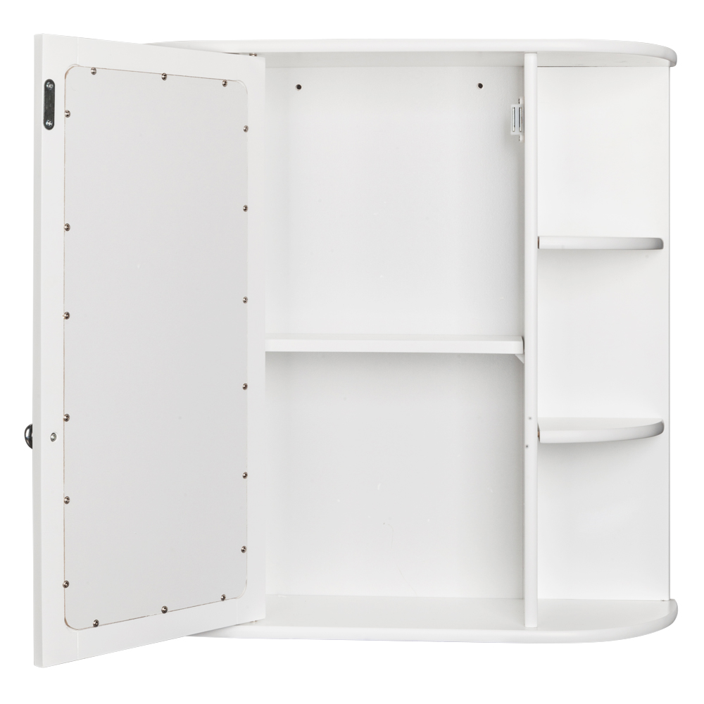 Bathroom Wall Mounted Cabinet Storage Wood w/ Mirror Shelves Towel ...