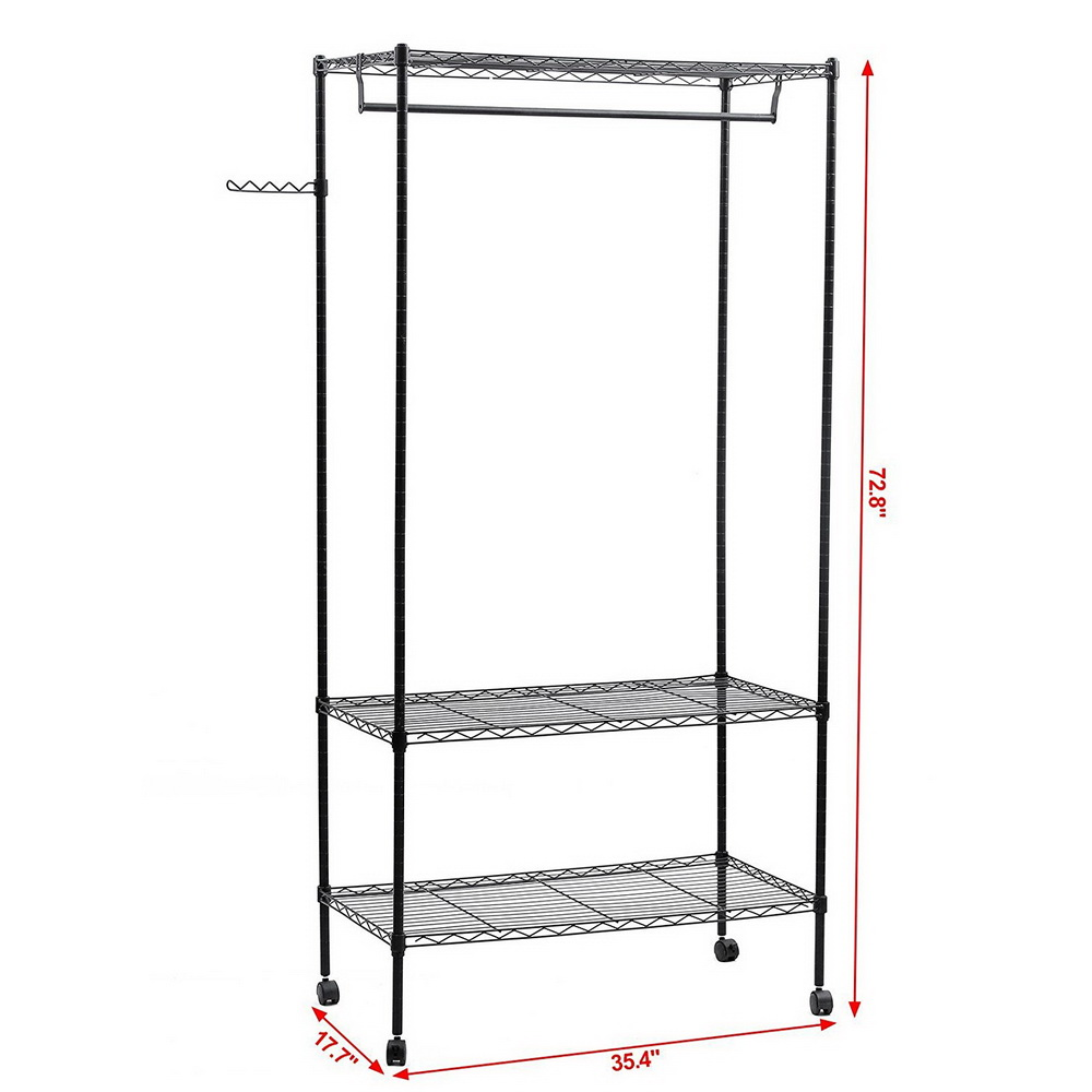 3 tier closet organizer metal garment rack portable clothes hanger home shelf