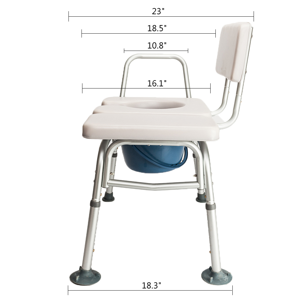 New Adjustable Commode Chair Medical Bedside Bathroom Padded Toilet ...