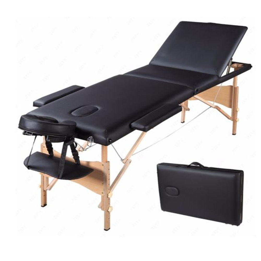 Black 3 fold portable facial spa bed massage table sheet 2 for Futon portatil