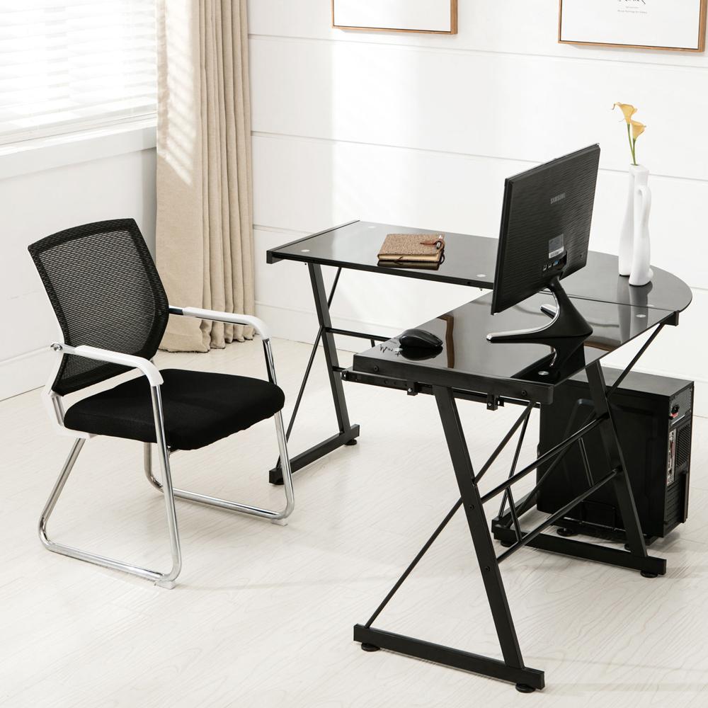 glass corner computer pc desk l shaped office furniture table workstation ebay. Black Bedroom Furniture Sets. Home Design Ideas