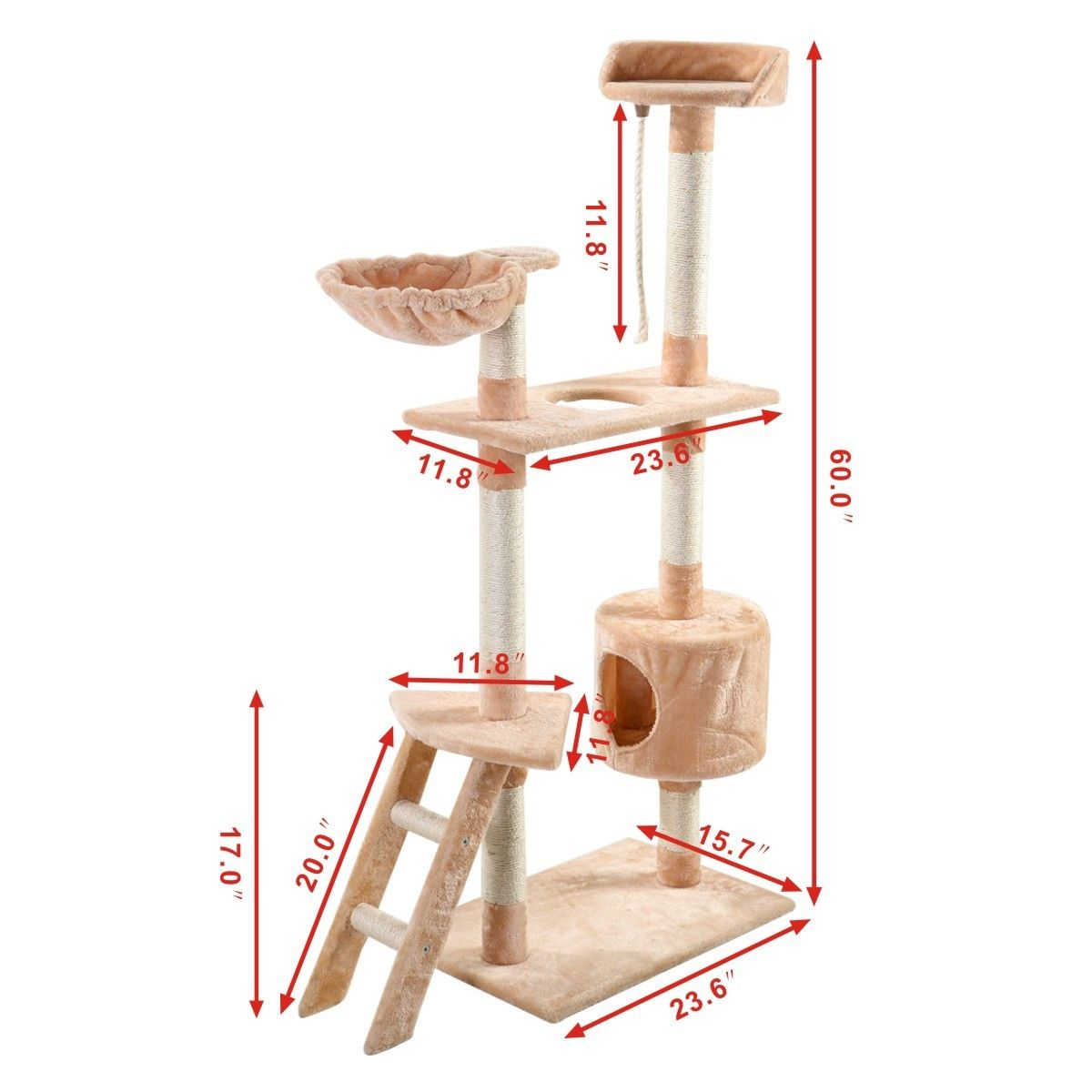 New cat tree tower condo furniture kitten pet apartment for Cat tower with hammock