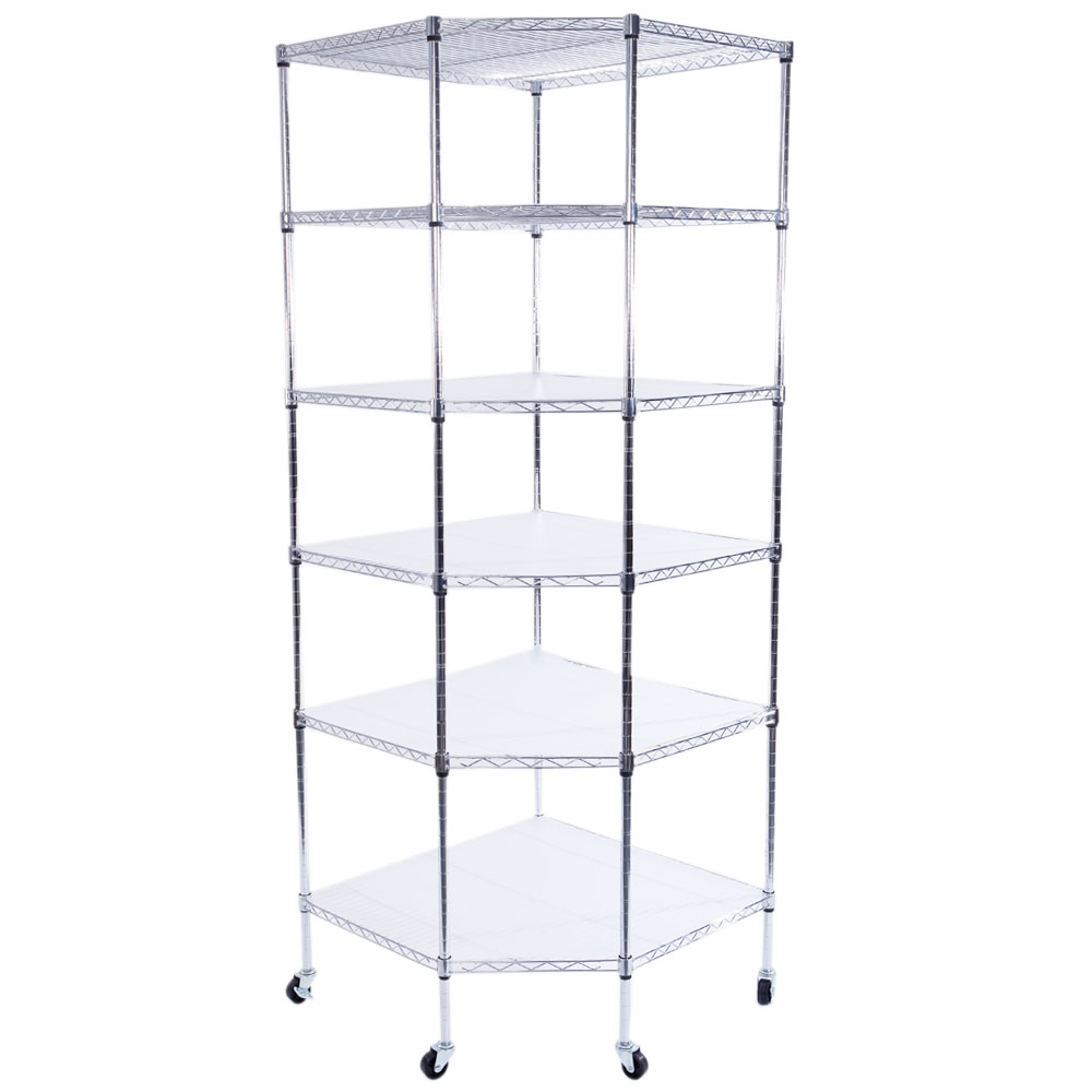 6-Tier Wire Shelving Adjustable Heavy Duty Rack Corner Unit Storage ...