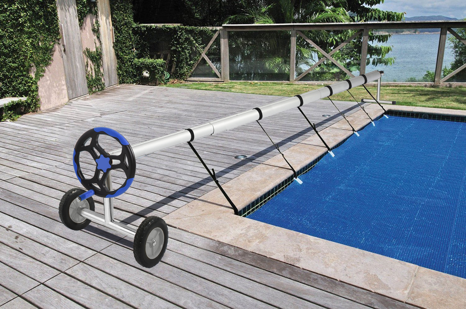 Details about Extra long Stainless Steel Inground Solar Cover Swimming Pool  Cover Reel