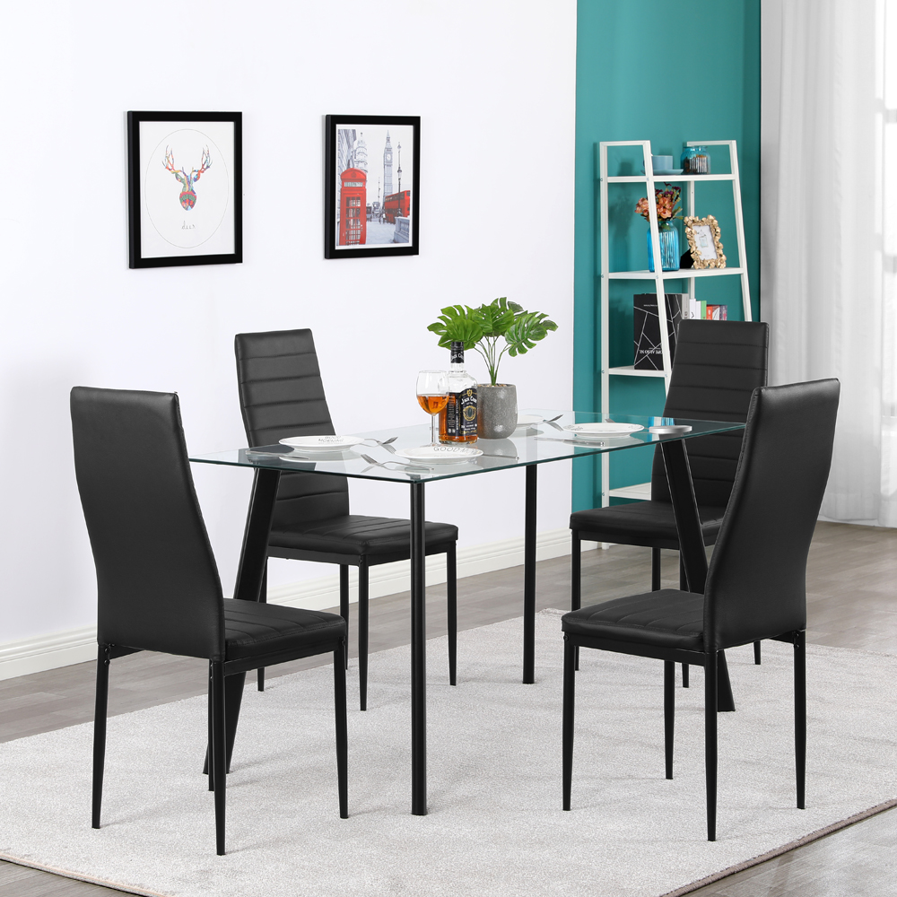 Details About Hot 5 Piece Dining Table Set 4 Chairs Glass Metal Kitchen  Room Furniture Black