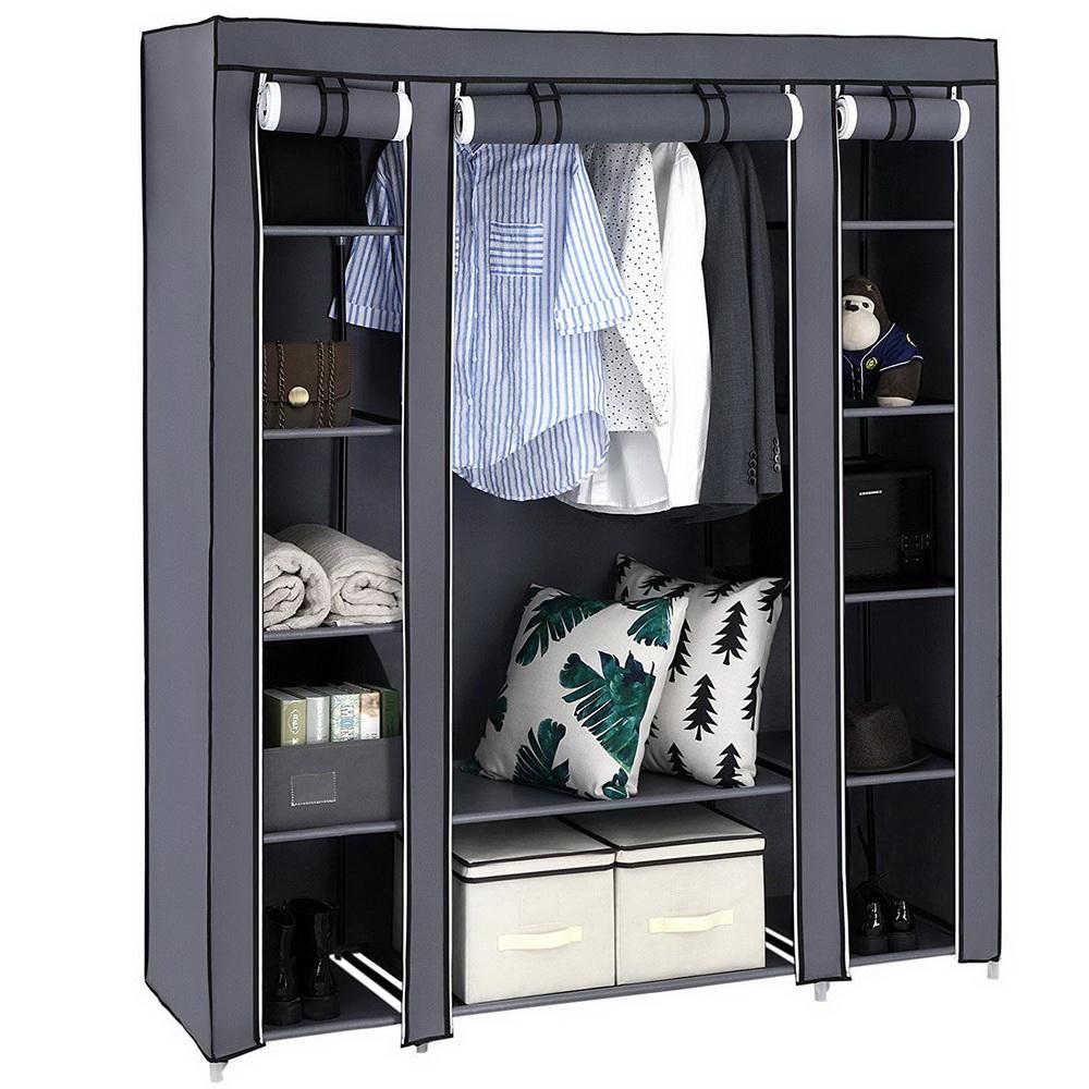 Portable Closet Wardrobe Clothes Rack Storage Organizer ...
