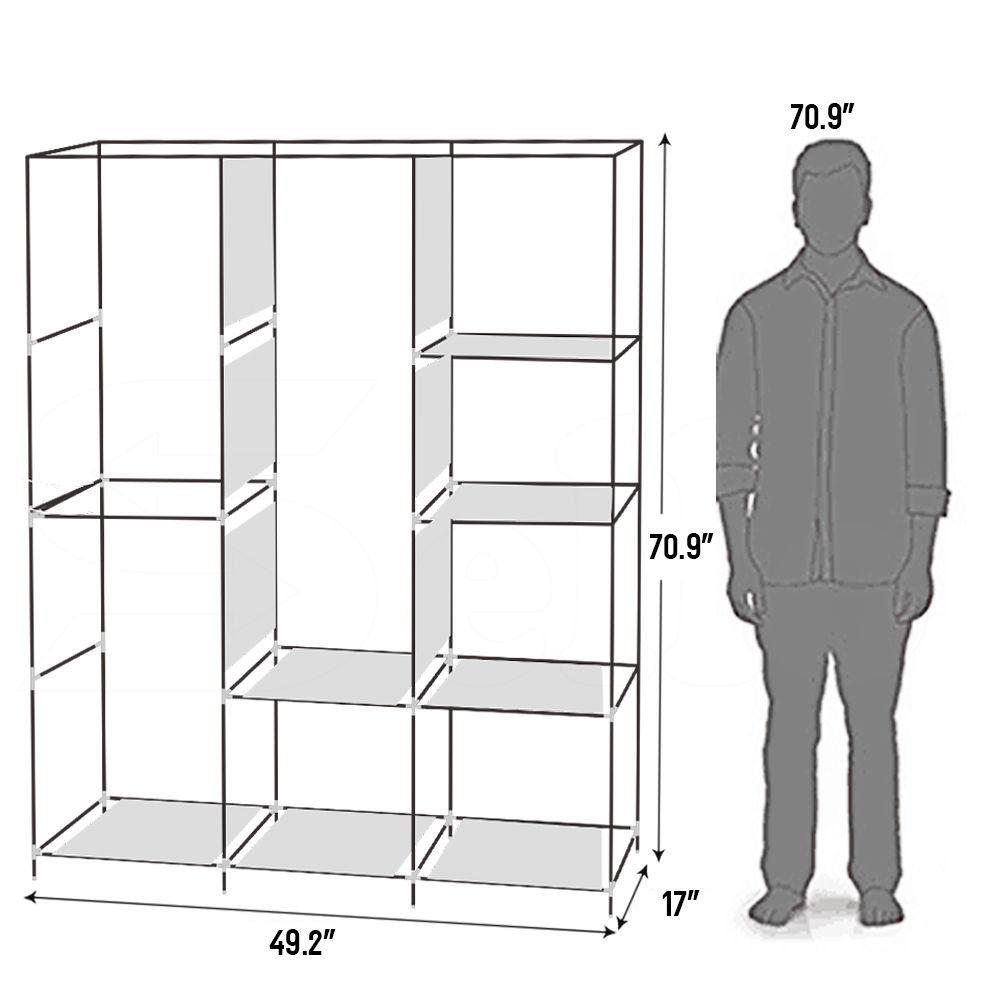 Portable Clothes Storage Closet Organizer Shelf Wardrobe