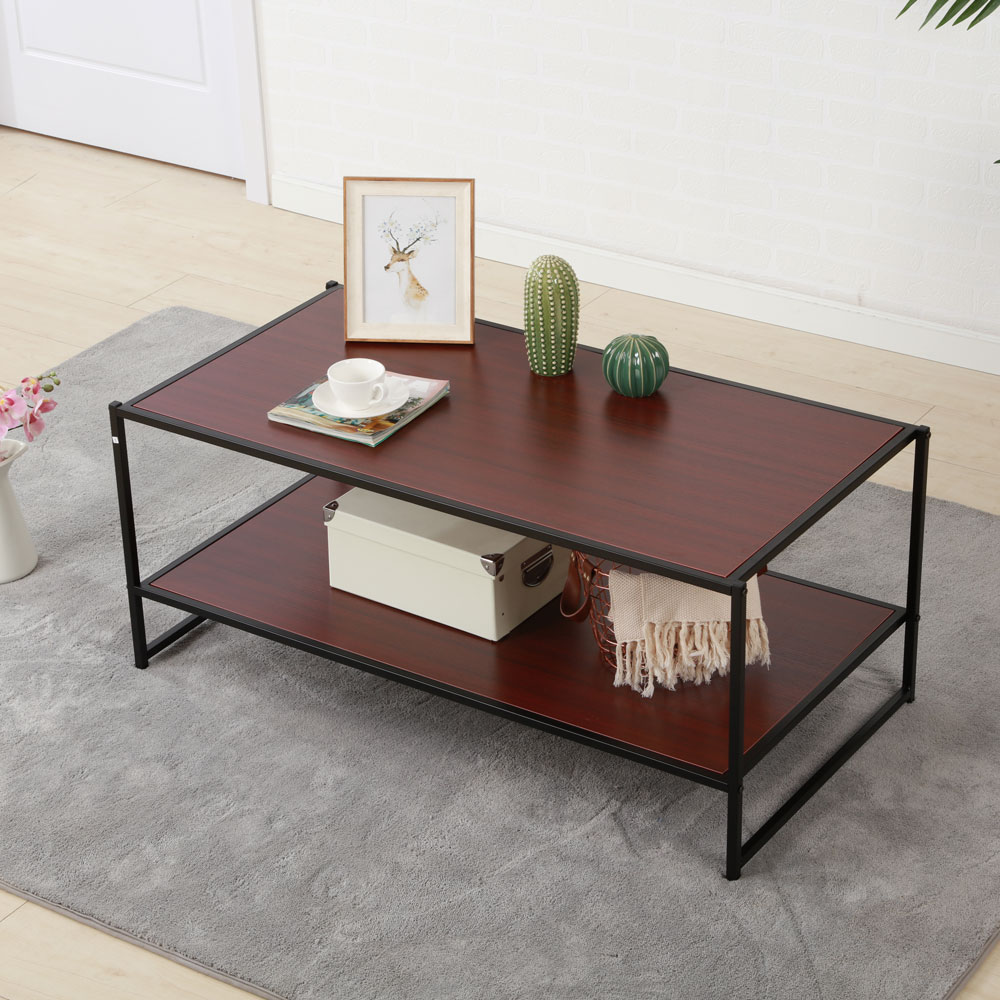 2 tier coffee table industrial contemporary furniture living room rectangle