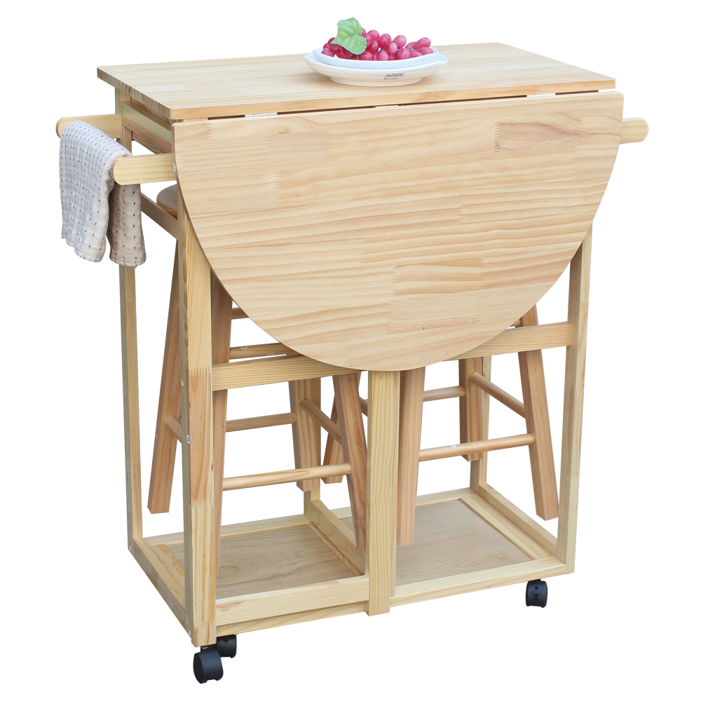 Rolling Kitchen Trolley Cart Island Drop Leaf Table w/ 2 Stools Dining Table Set  sc 1 st  eBay & Rolling Kitchen Trolley Cart Island Drop Leaf Table w/ 2 Stools ...