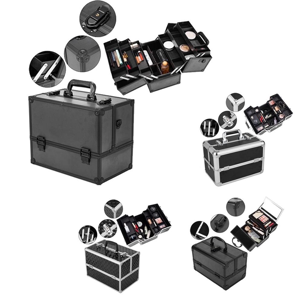 79316d49a776 Details about Pro Aluminum Portable Cosmetic Makeup Box Beauty Train Case  Storage Organizer